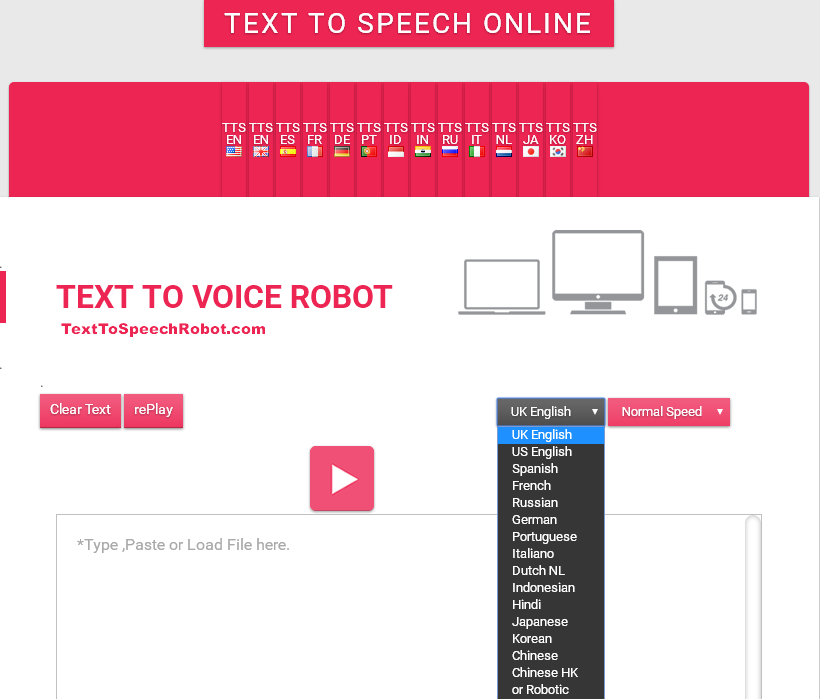 Text To Speech | Free Online | Multilingual TTS for your Computer